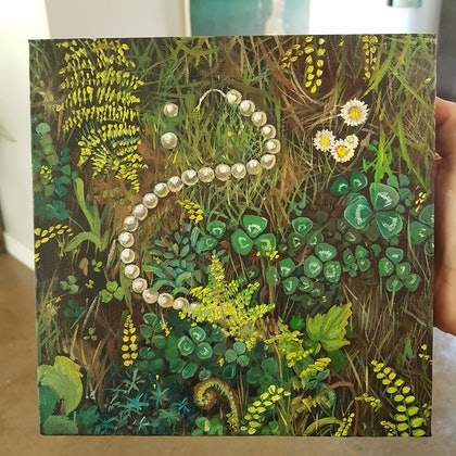 (CreativeWork) Forest Floor by Llael McDonald. oil-painting. Shop online at Bluethumb.
