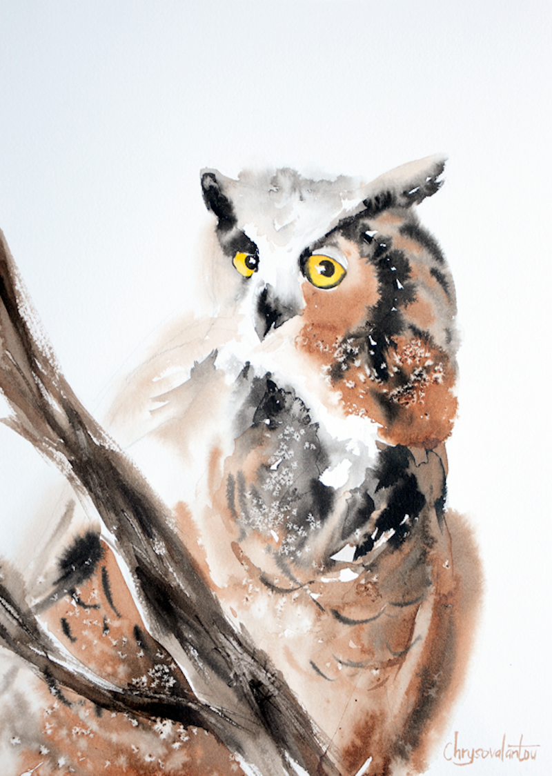 (CreativeWork) Great Horned Owl by Chrysovalantou Mavroudis. other-media. Shop online at Bluethumb.