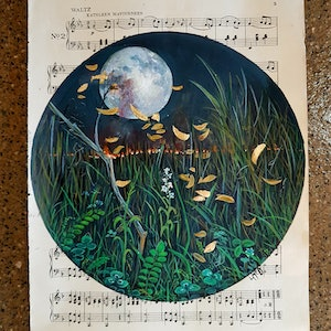 (CreativeWork) Bushfire Moon by Llael McDonald. other-media. Shop online at Bluethumb.