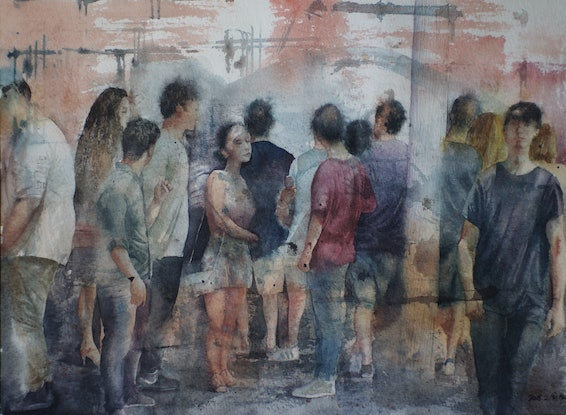 (CreativeWork) Crowd in City by ZHEN Yu. Watercolour Paint. Shop online at Bluethumb.