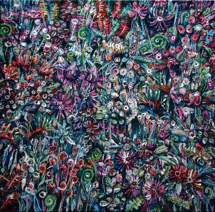 (CreativeWork) Field Of Flowers by Gavin Brown. oil-painting. Shop online at Bluethumb.