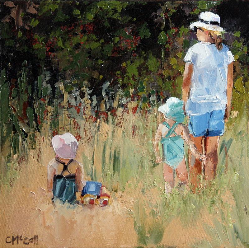 (CreativeWork) Beach Day I by Claire McCall. oil-painting. Shop online at Bluethumb.