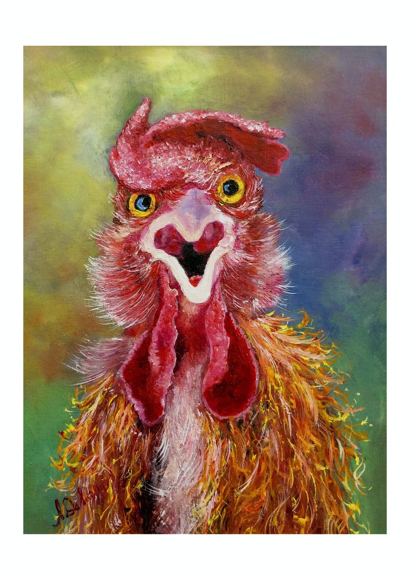 Crazy Donald Rooster Fine Art Print Smaller Size Ed 1 Of 100 By