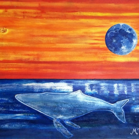 (CreativeWork) Master of the Ocean by Michelle Ward. Mixed Media. Shop online at Bluethumb.