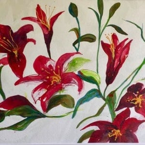 (CreativeWork) Luscious Lilies by Colleen Michelle Connors. arcylic-painting. Shop online at Bluethumb.