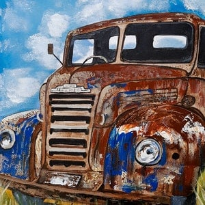 (CreativeWork) Rusty Old Car x 4  by Deborah Christensen. arcylic-painting. Shop online at Bluethumb.