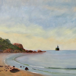 (CreativeWork) Luminist Boat Harbour by Colin Palethorpe. oil-painting. Shop online at Bluethumb.