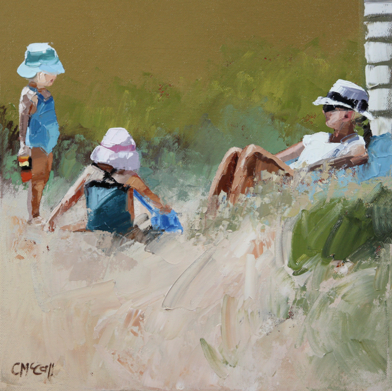 (CreativeWork) Beach Day II by Claire McCall. oil-painting. Shop online at Bluethumb.