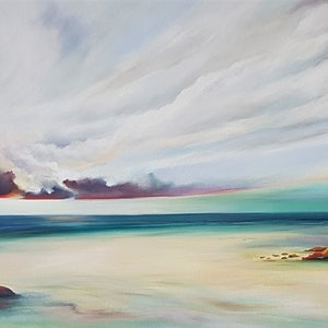 (CreativeWork) Evening Tide by Lucinda Leveille. oil-painting. Shop online at Bluethumb.
