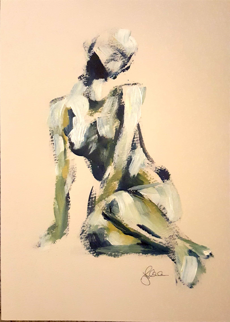 (CreativeWork) Nude by evening ocean light by Katrina Okoronkwo. arcylic-painting. Shop online at Bluethumb.
