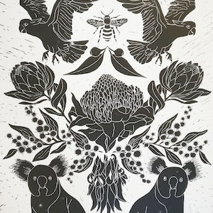 (CreativeWork) Australiana Lino print Ed. 6 of 150 by Marinka Parnham. print. Shop online at Bluethumb.