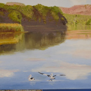 (CreativeWork) Reflections on The Ord River by Robin Tunnicliffe. drawing. Shop online at Bluethumb.
