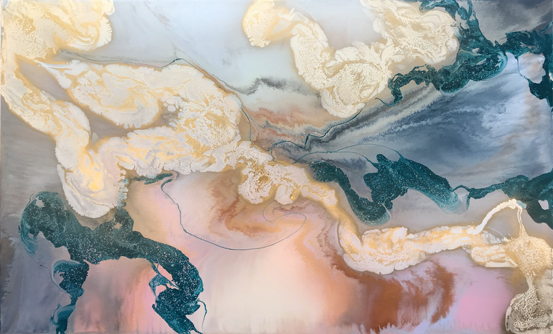 (CreativeWork) Earth and Wind by Rachael Higby. Acrylic Paint. Shop online at Bluethumb.