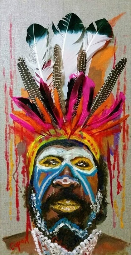 (CreativeWork) Chimbu Tribesman PNG by Susan Capan. drawing. Shop online at Bluethumb.