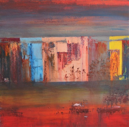 (CreativeWork) 'Shadow of A Past City' by Hang Minh Vu. arcylic-painting. Shop online at Bluethumb.