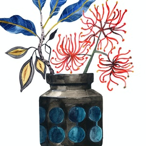 (CreativeWork) Firewheel in Retro Vase Ed. 7 of 100 by Sally Browne. print. Shop online at Bluethumb.