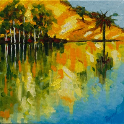 (CreativeWork) The Palm Tree with a View Across a Lake in Flaxton  by Judi Parkinson. oil-painting. Shop online at Bluethumb.