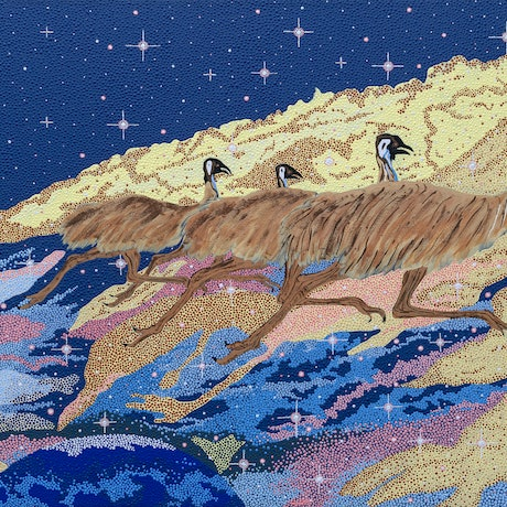 (CreativeWork) Emu Dreaming  by Lloyd Hornsby. Acrylic Paint. Shop online at Bluethumb.