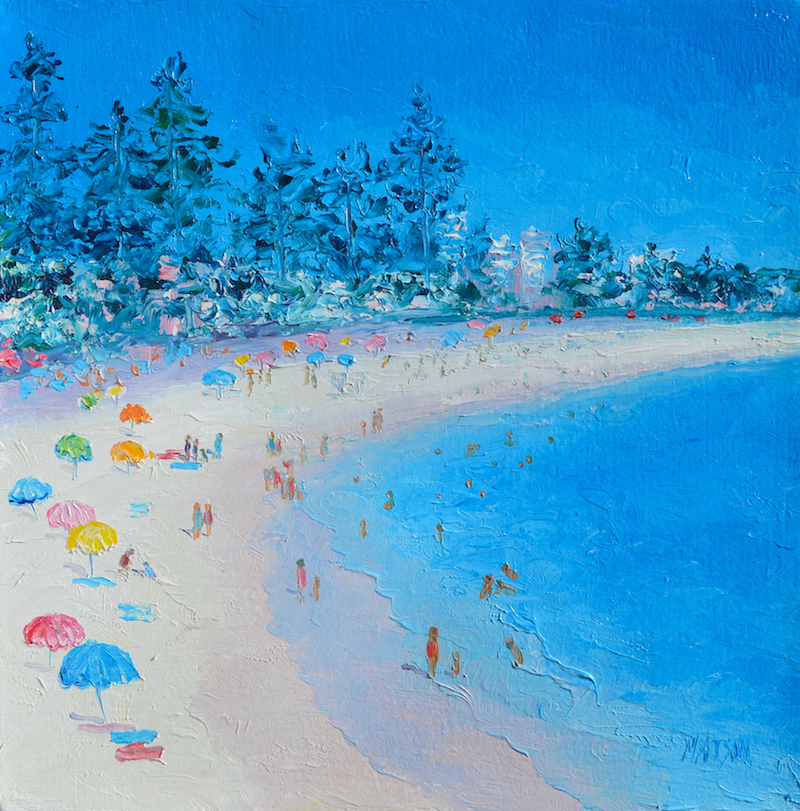 (CreativeWork) MANLY BEACH, SYDNEY by Jan Matson. oil-painting. Shop online at Bluethumb.