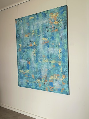 (CreativeWork) Abstract With Blue And Other Tones by Barry Johnson. Acrylic Paint. Shop online at Bluethumb.