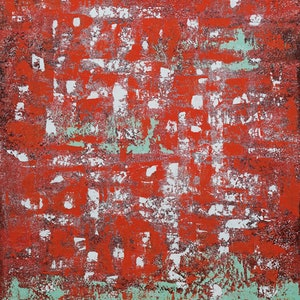 (CreativeWork) Abstract Green On Red by Barry Johnson. arcylic-painting. Shop online at Bluethumb.