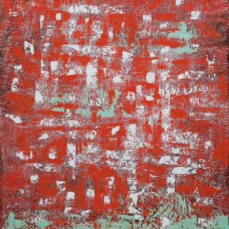 (CreativeWork) Abstract Green On Red by Barry Johnson. Acrylic Paint. Shop online at Bluethumb.