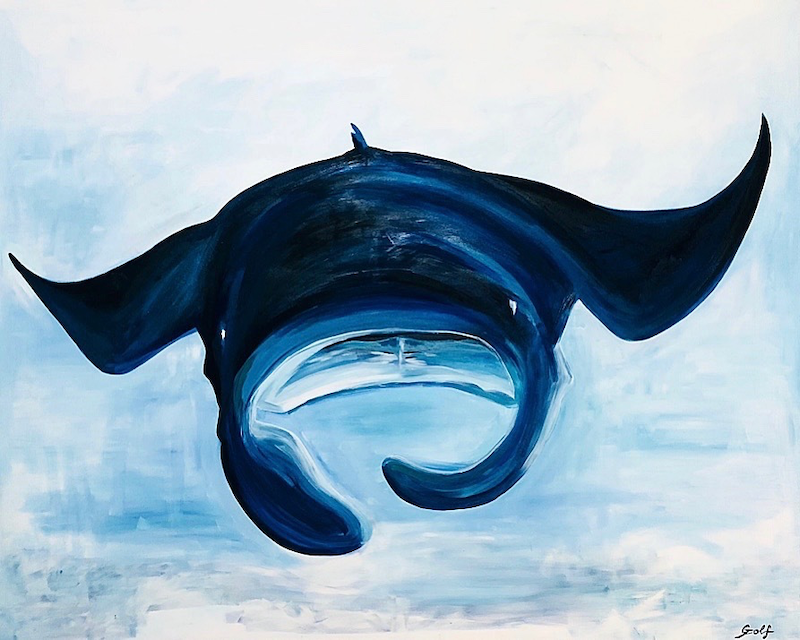 (CreativeWork) Close Encounter by Silvia Rubboli Golf. Oil Paint. Shop online at Bluethumb.