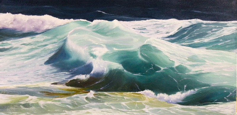 (CreativeWork) Green Wave 5 by Colin Madgwick. oil-painting. Shop online at Bluethumb.