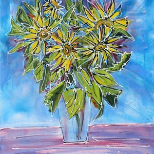 (CreativeWork) Yellow Floral Delights - Original Acrylic Flower Painting by Wendy Eriksson. arcylic-painting. Shop online at Bluethumb.
