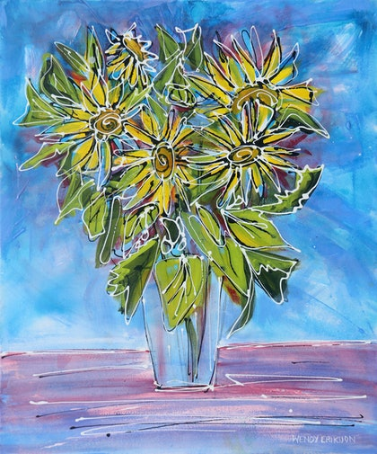 (CreativeWork) Yellow Floral Delights - Original Acrylic Flower Painting by Wendy Eriksson. print. Shop online at Bluethumb.