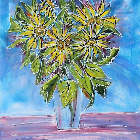 (CreativeWork) Yellow Floral Delights - Original Acrylic Flower Painting by Wendy Eriksson. Acrylic Paint. Shop online at Bluethumb.