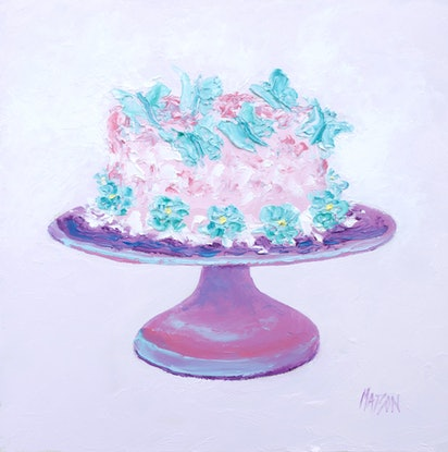 (CreativeWork) BUTTERFLY FROSTED CAKE by Jan Matson. Oil Paint. Shop online at Bluethumb.