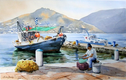(CreativeWork) Fishing in the Greek Isles by Anita Bentley. watercolour. Shop online at Bluethumb.