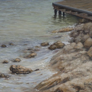 (CreativeWork) Foreshore Rocks by Corrine Rapley. oil-painting. Shop online at Bluethumb.