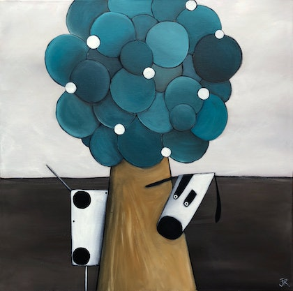 (CreativeWork) Dog 17 by Julie Robertson. arcylic-painting. Shop online at Bluethumb.