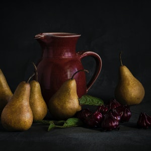 (CreativeWork) Pears and Rosellas Ed. 1 of 10 by Anna-Riitta Ovaska. photograph. Shop online at Bluethumb.
