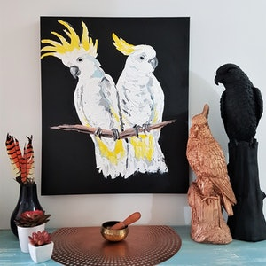 (CreativeWork) Cockatoo Pair by Lisa Fahey. arcylic-painting. Shop online at Bluethumb.