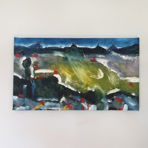 (CreativeWork) Glass House Mountains  by Oliver Baxter. arcylic-painting. Shop online at Bluethumb.