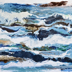 (CreativeWork) Seascape by Brigitte Ackland. arcylic-painting. Shop online at Bluethumb.