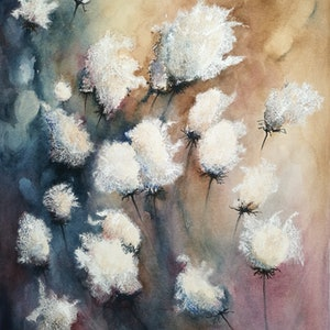 (CreativeWork) Dancing Cotton Bolls by Lucinda Leveille. watercolour. Shop online at Bluethumb.
