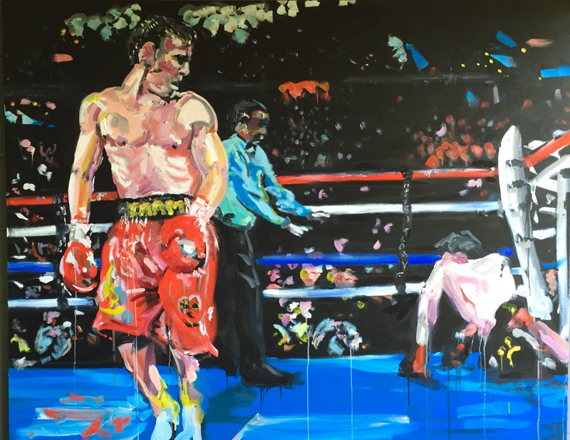 (CreativeWork) The Art of Boxing: Where Dreams are Won and Lost by Stephen Tiernan. oil-painting. Shop online at Bluethumb.