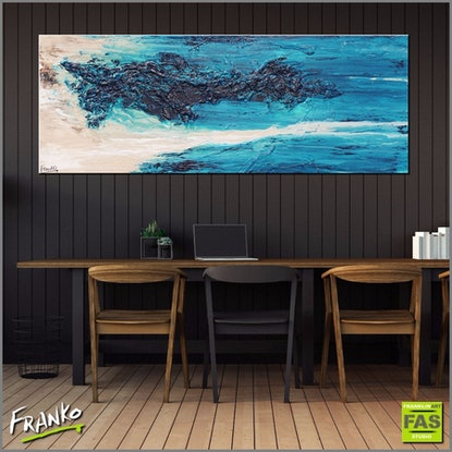 (CreativeWork) Southern Mist HUGE 160cm x 60cm textured  turquoise  teal jade Abstract  by _Franko _. Acrylic Paint. Shop online at Bluethumb.