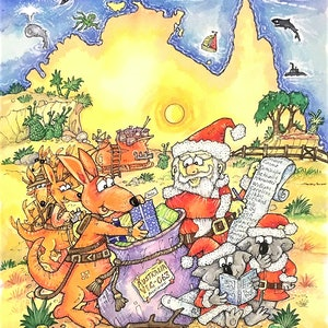 (CreativeWork) 'Down-Under, The Australian Twelve Days of Christmas'  Front cover by Michael Salmon. watercolour. Shop online at Bluethumb.