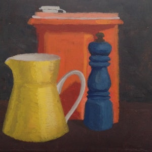 (CreativeWork) Still Life of Yellow Jug, Orange Tupperware and Pepper Grinder by Shellie Cleaver. arcylic-painting. Shop online at Bluethumb.