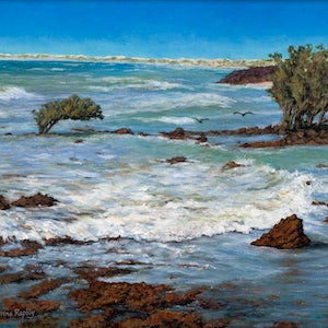 (CreativeWork) Incoming Tide, Cape Keraudren by Corrine Rapley. arcylic-painting. Shop online at Bluethumb.