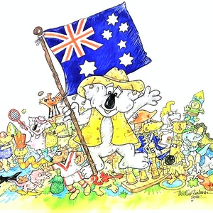 (CreativeWork) 'Advance Australia Fair'  Front cover by Michael Salmon. watercolour. Shop online at Bluethumb.