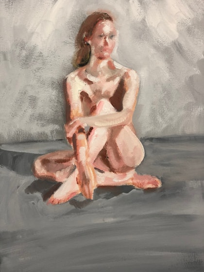 (CreativeWork) Sitting Nude by Stephen Tiernan. oil-painting. Shop online at Bluethumb.