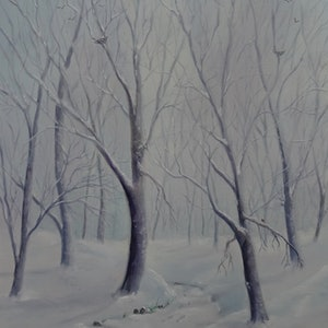 (CreativeWork) Winter white by Rosemary Williamson. oil-painting. Shop online at Bluethumb.