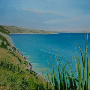 (CreativeWork) Across the Bay by Rosemary Williamson. oil-painting. Shop online at Bluethumb.