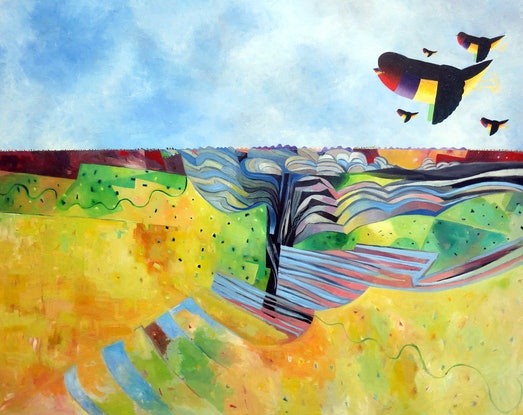 (CreativeWork) Gould Finch Landscape - Major large work  by John Graham. Oil Paint. Shop online at Bluethumb.